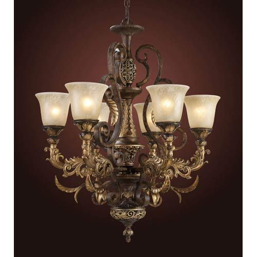 Trans Globe Lighting Colonial Energy Saving Six Light Chandelier In Bronze
