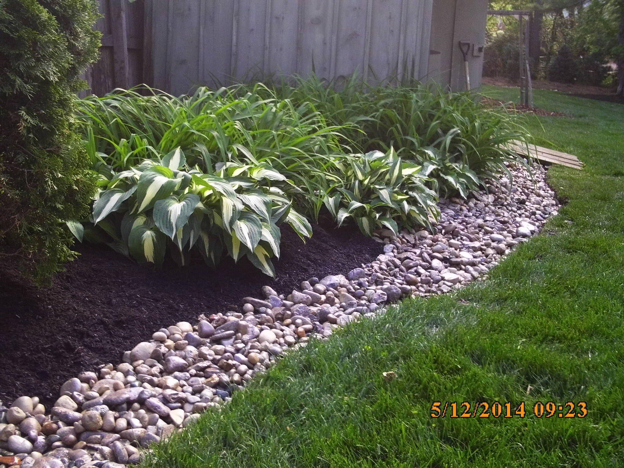 Landscape Job 16 Mulch Bed w/ River Rock Bank Spring