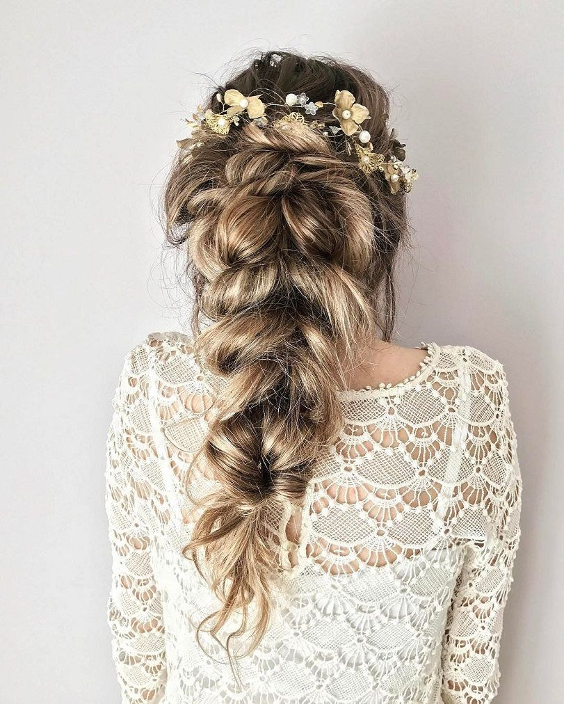 Pretty hairstyle for long hair ,braid hairstyle for wedding,hairstyle inspiration #hairstyle #bohohair