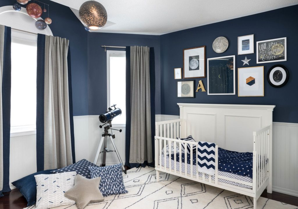 Celestial Inspired Boys Room Navy Walls Wall Colors And