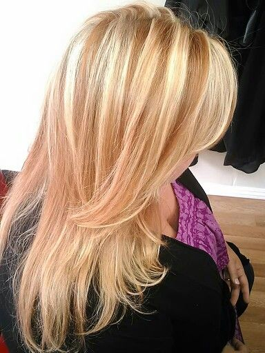 Copper And Blonde Highlights Layered Haircut With Swept