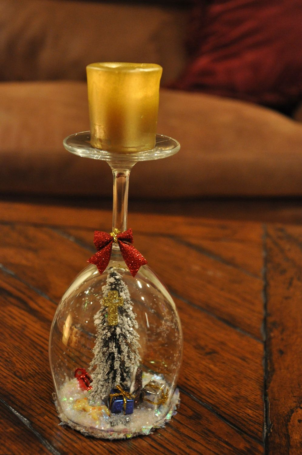 Natures Christmas White Wine Glass Candle Holder. 25.00