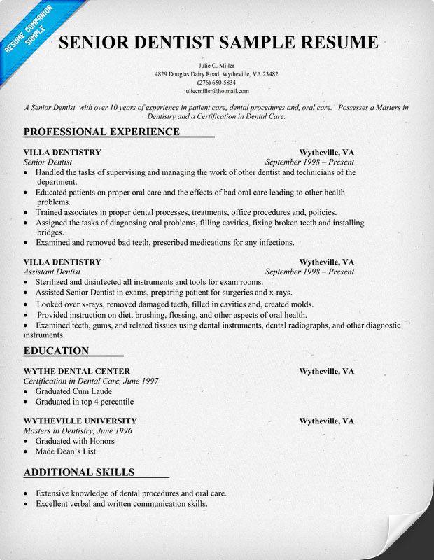 Dentist Resume Summary. Resume Sample Easy Resume Samples Dental