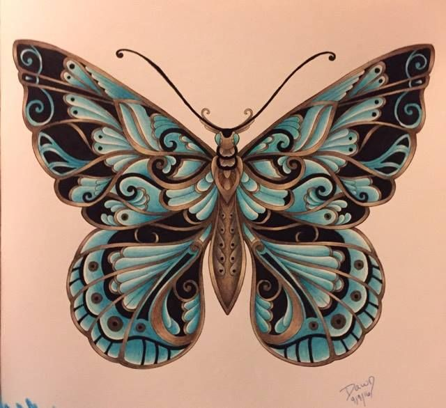 Magical Jungle By Johanna Basford Butterfly Colored By