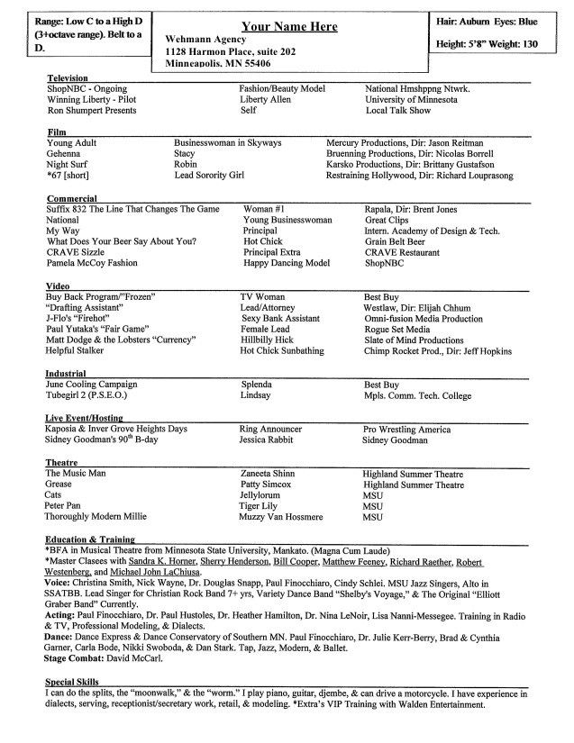 Actor Resume Special Skills 1160 http//topresume.info