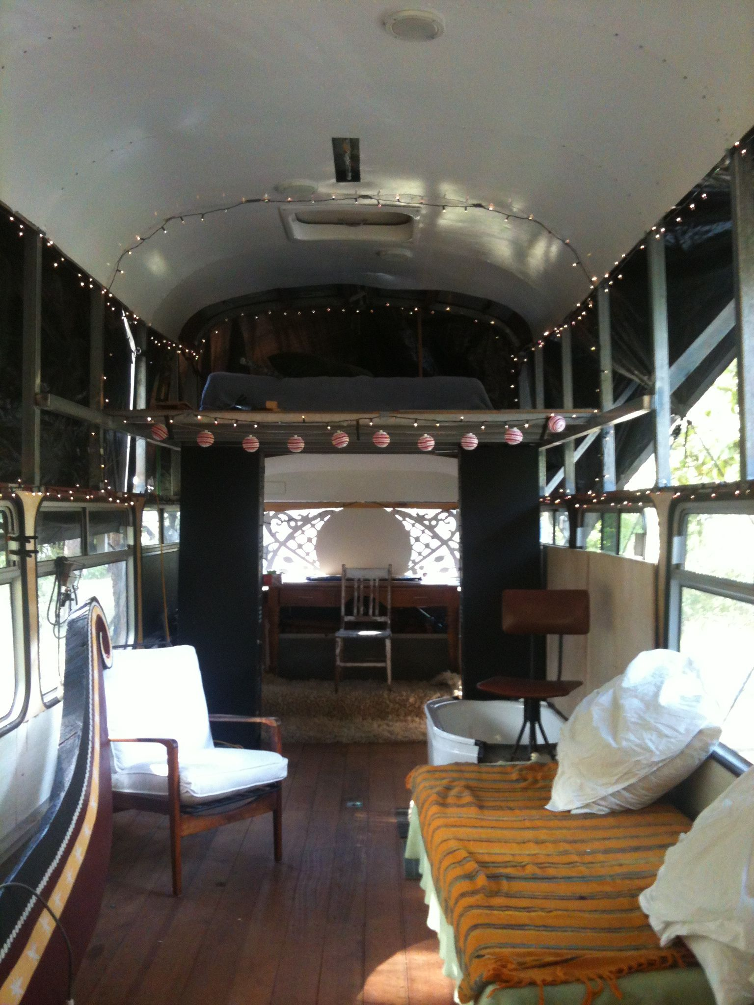 Other end of Bus and Bedroom mezzanine. Furniture and