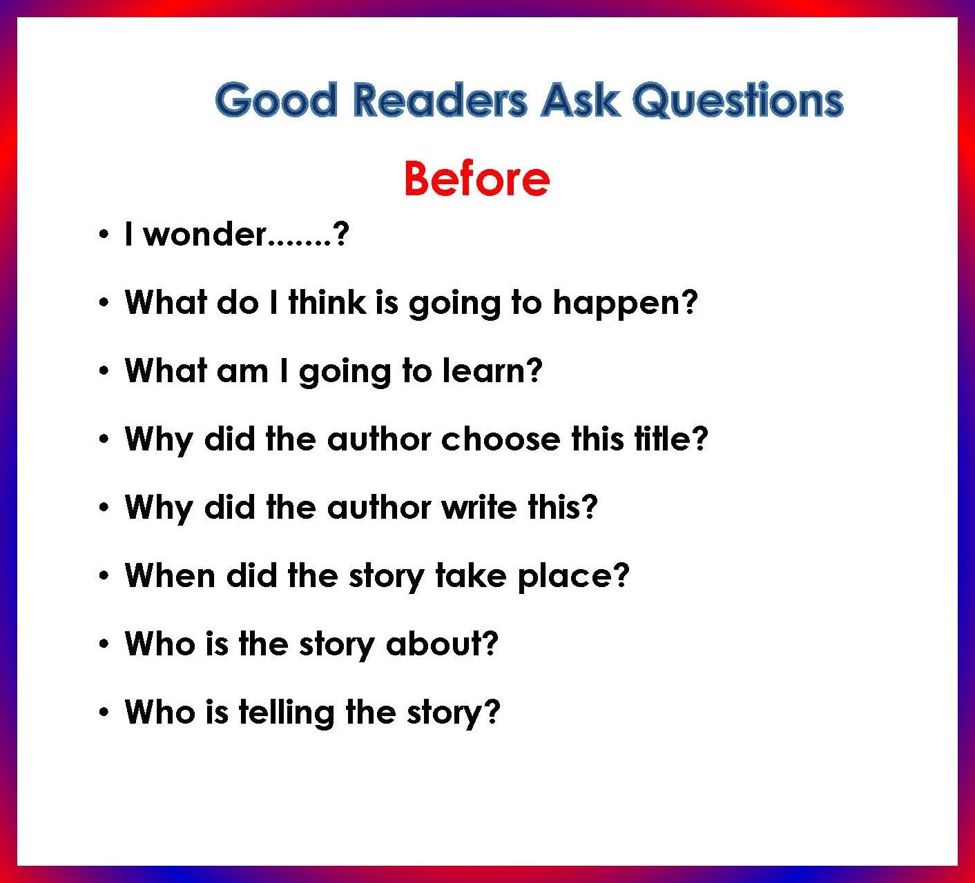 Good Readers Ask Questions Fore