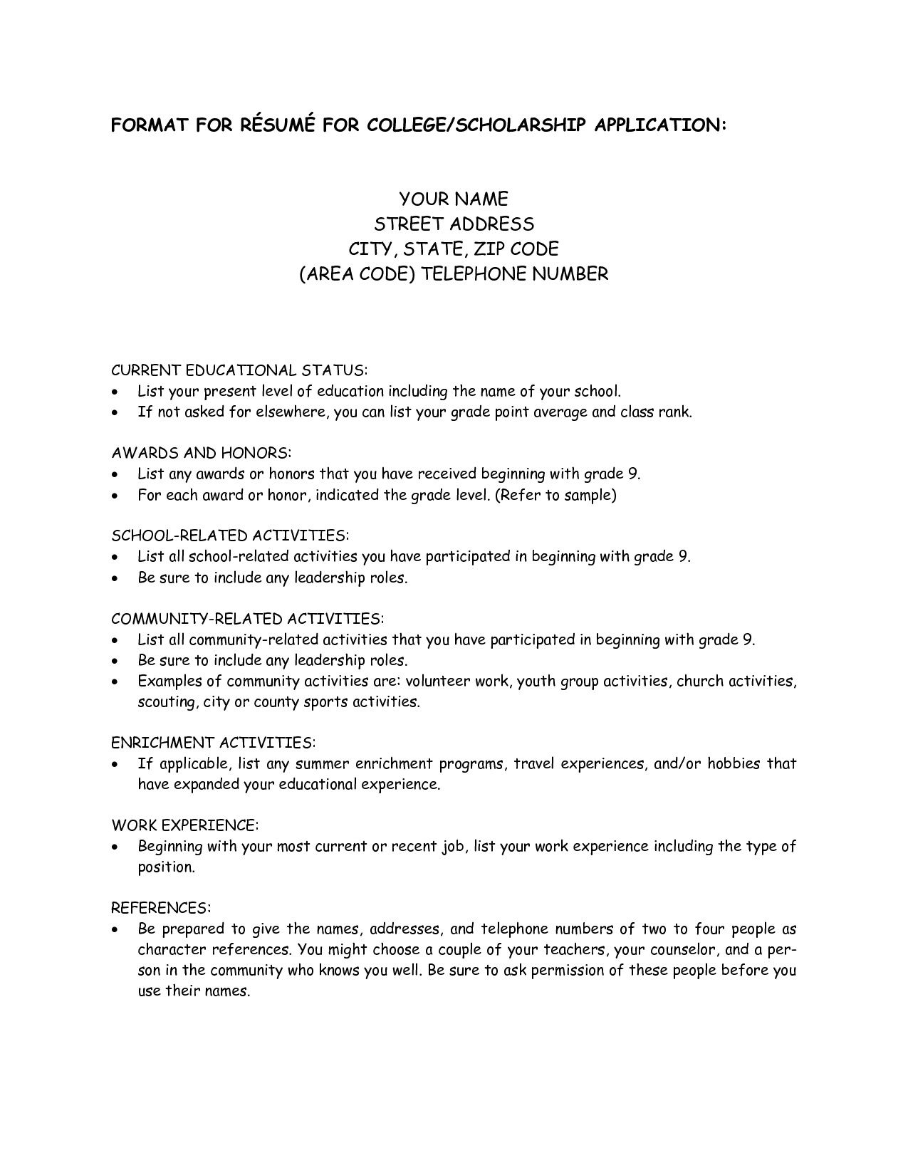 College Scholarship Resume Template 1197 http