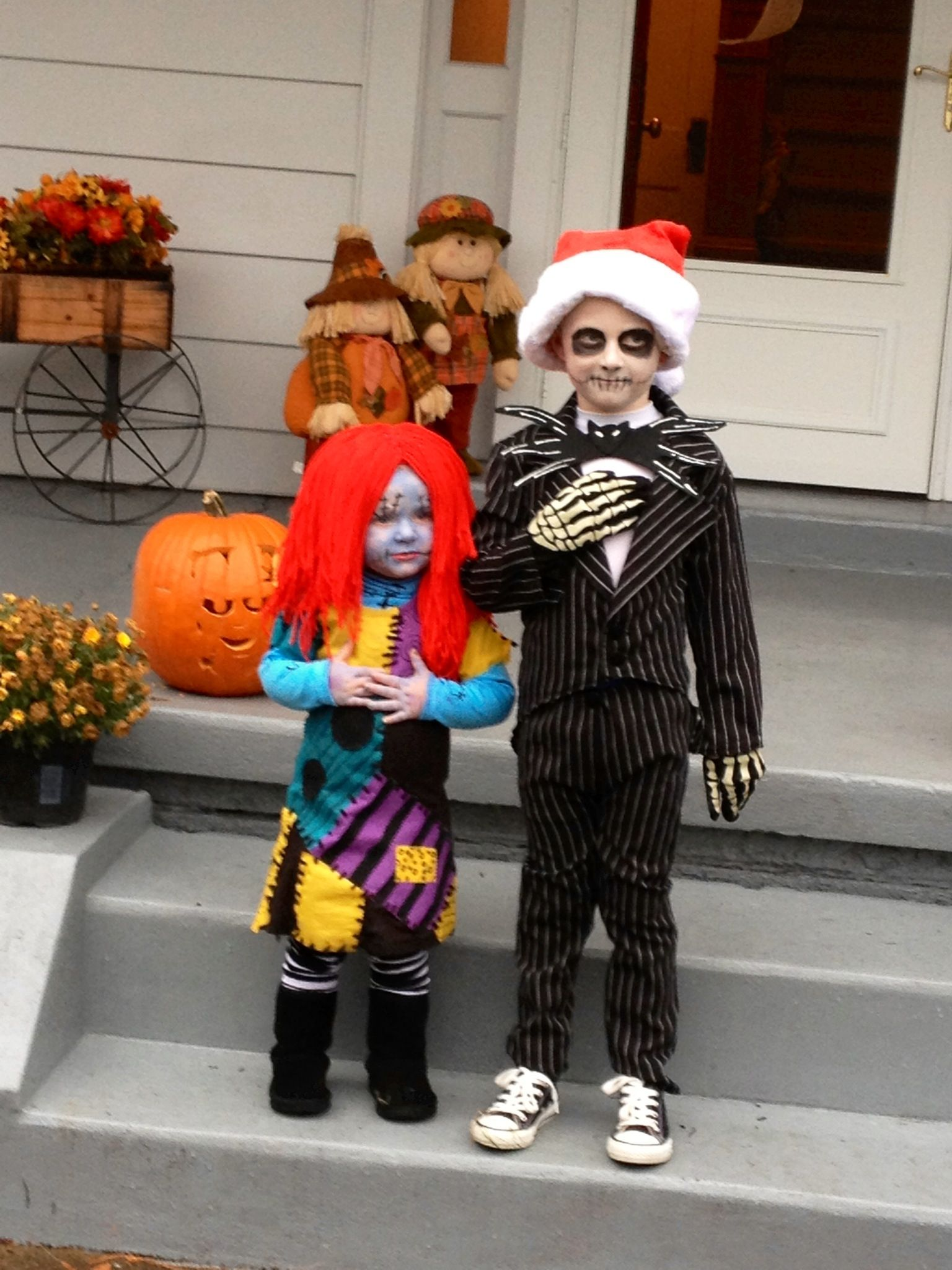DIY Jack Skellington and Sally Stitches costumes from