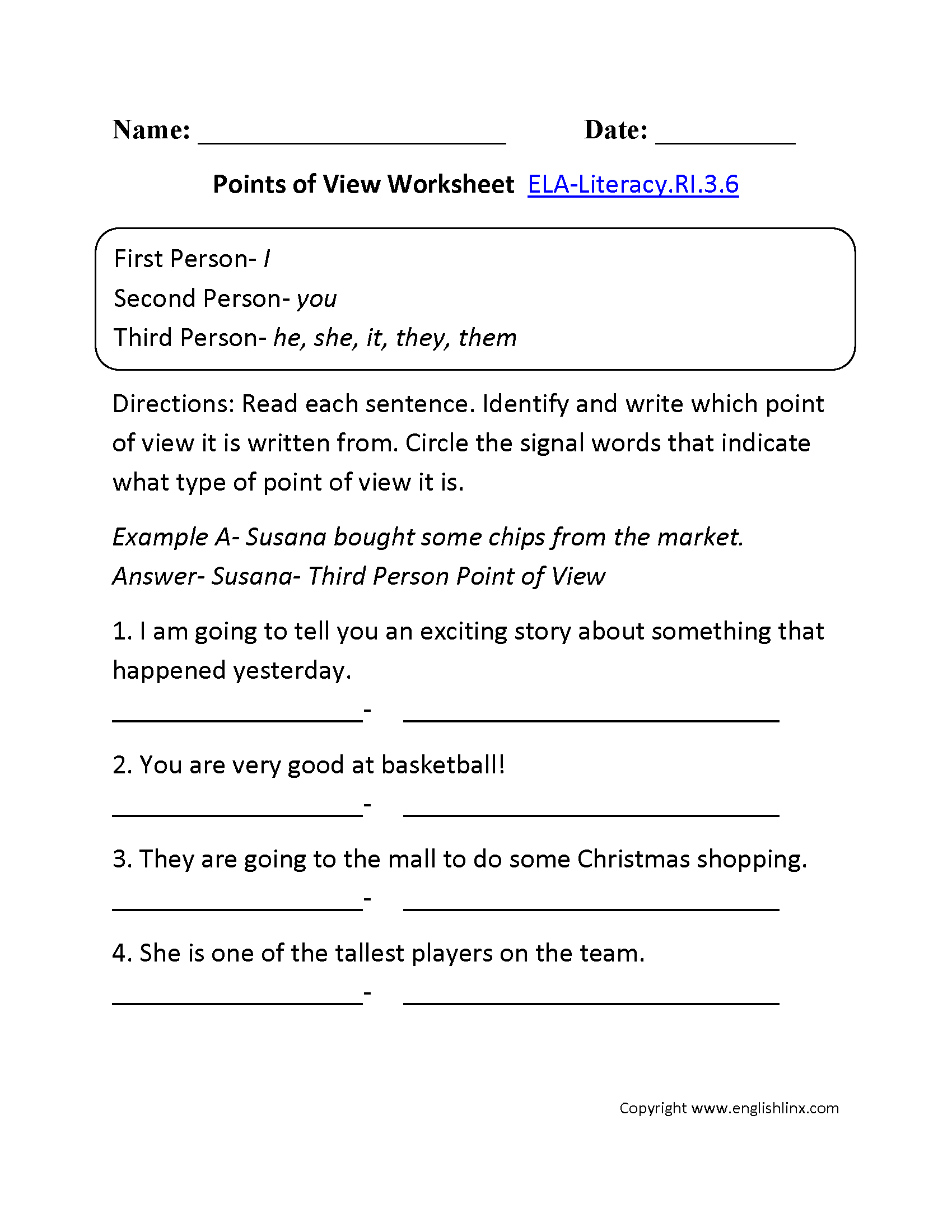 Point Of View Worksheet Ela Literacy Ri 3 6 Reading Informational Text