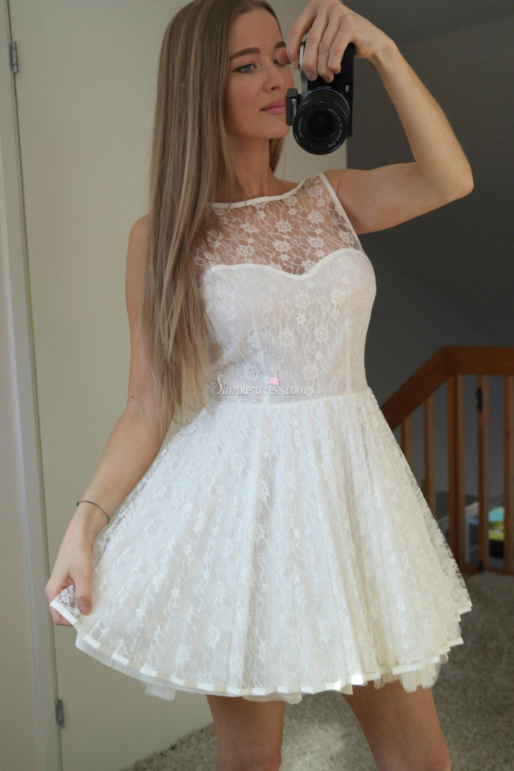Simpledress Pretty Short White Lace Short 2015