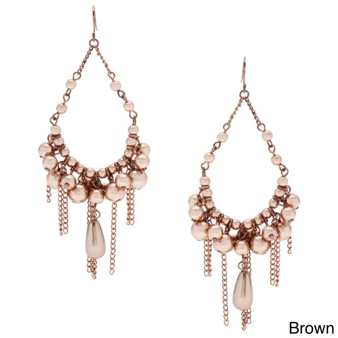Alexa Starr Faux Pearl Chandelier Earrings With Burnished Chain Fringe By