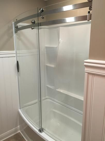 Delta Classic 400 Curve 60 In X 62 In Frameless Sliding Tub Door In Stainless Tubs Doors