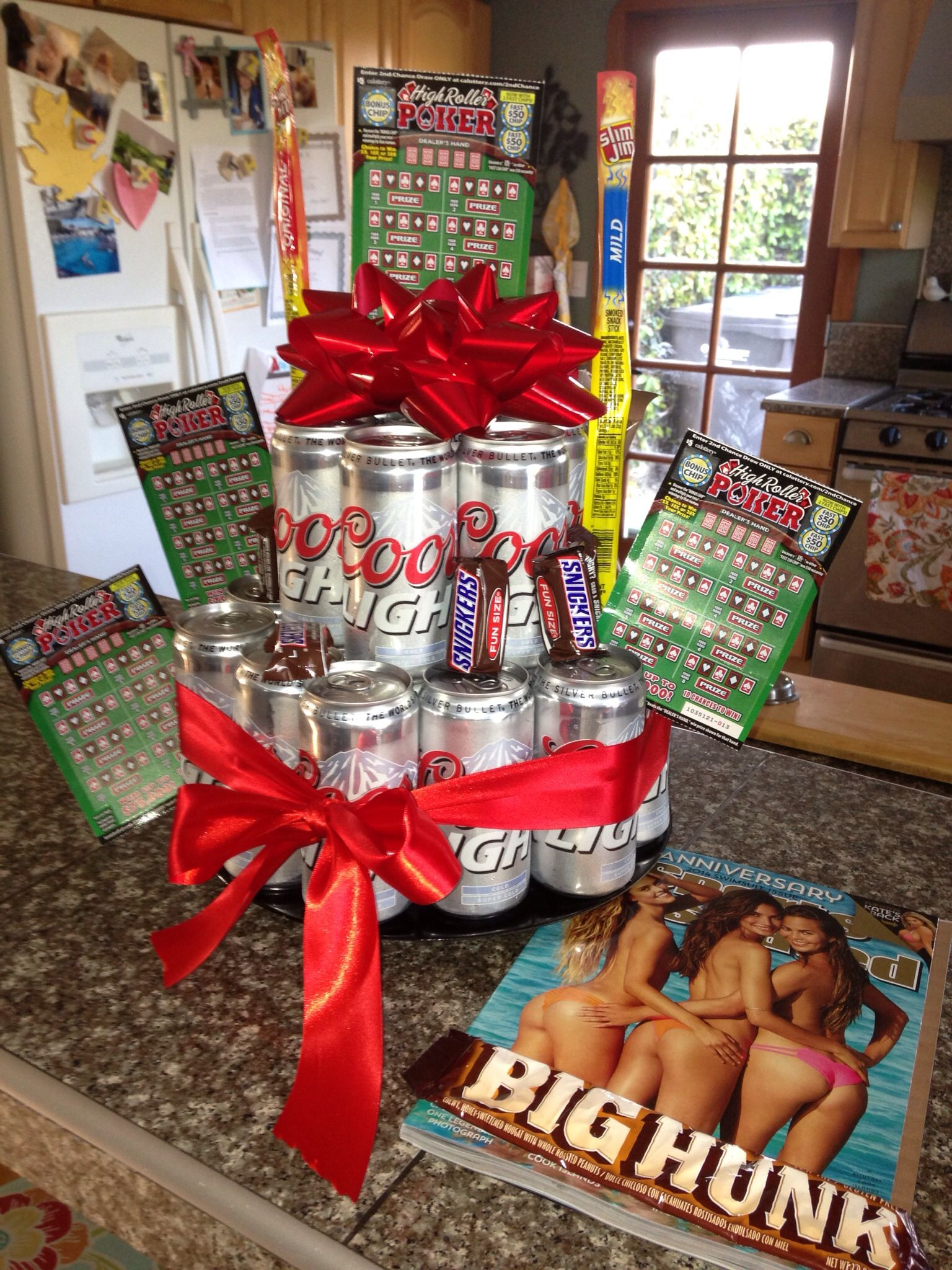 For A Guy Beer Birthday Cake T With Lottery Tickets