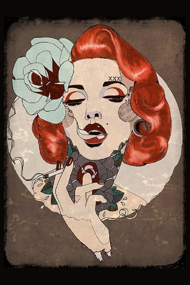 Smoking Hot by Amy Dowell Glam Tattooed PinUp Girl Framed