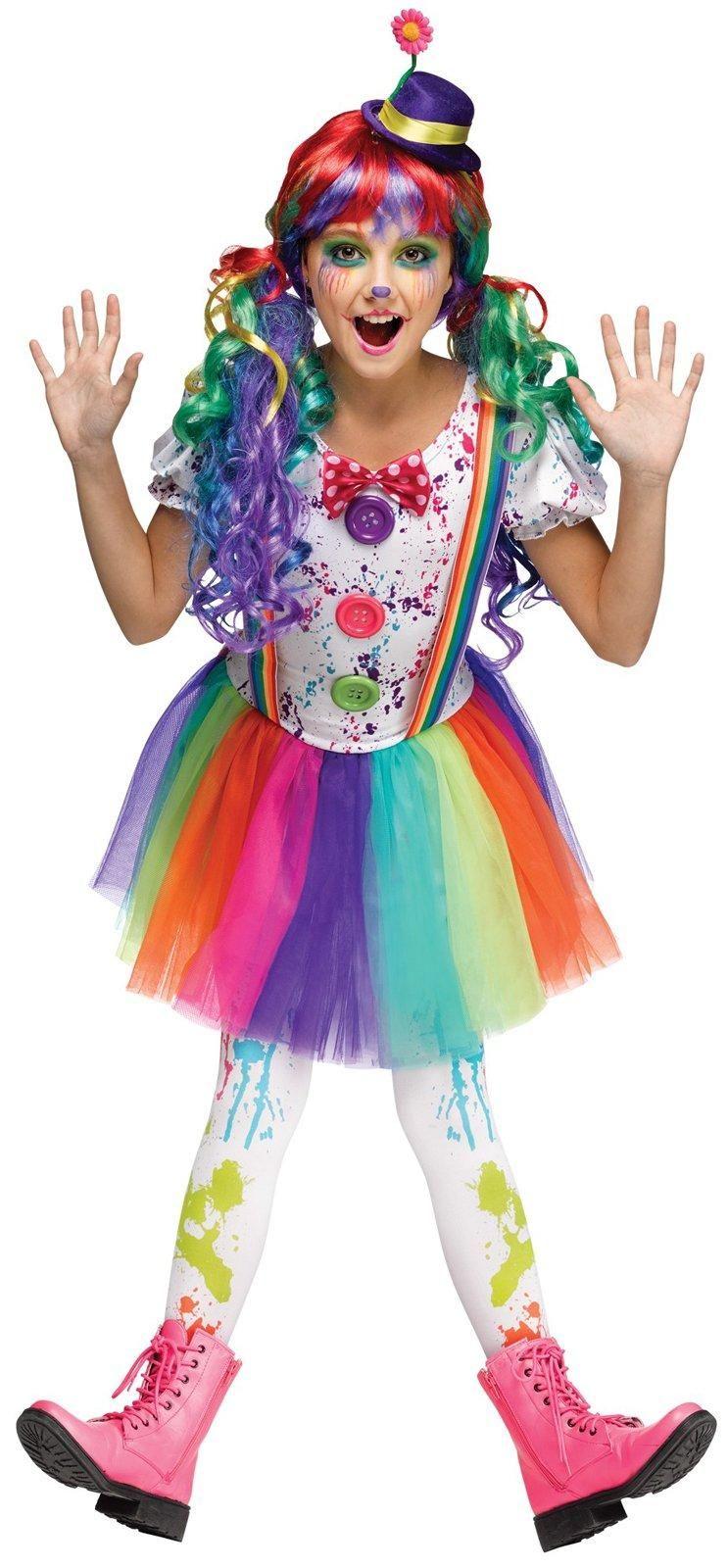Kids Crazy Color Clown Costume Costumes, Halloween