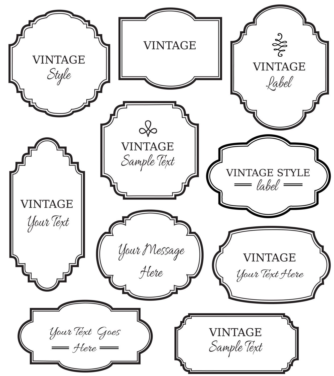 Vintage Labels Clip Art Digital Frame Vector Eps Editable Diy Cards Invitation
