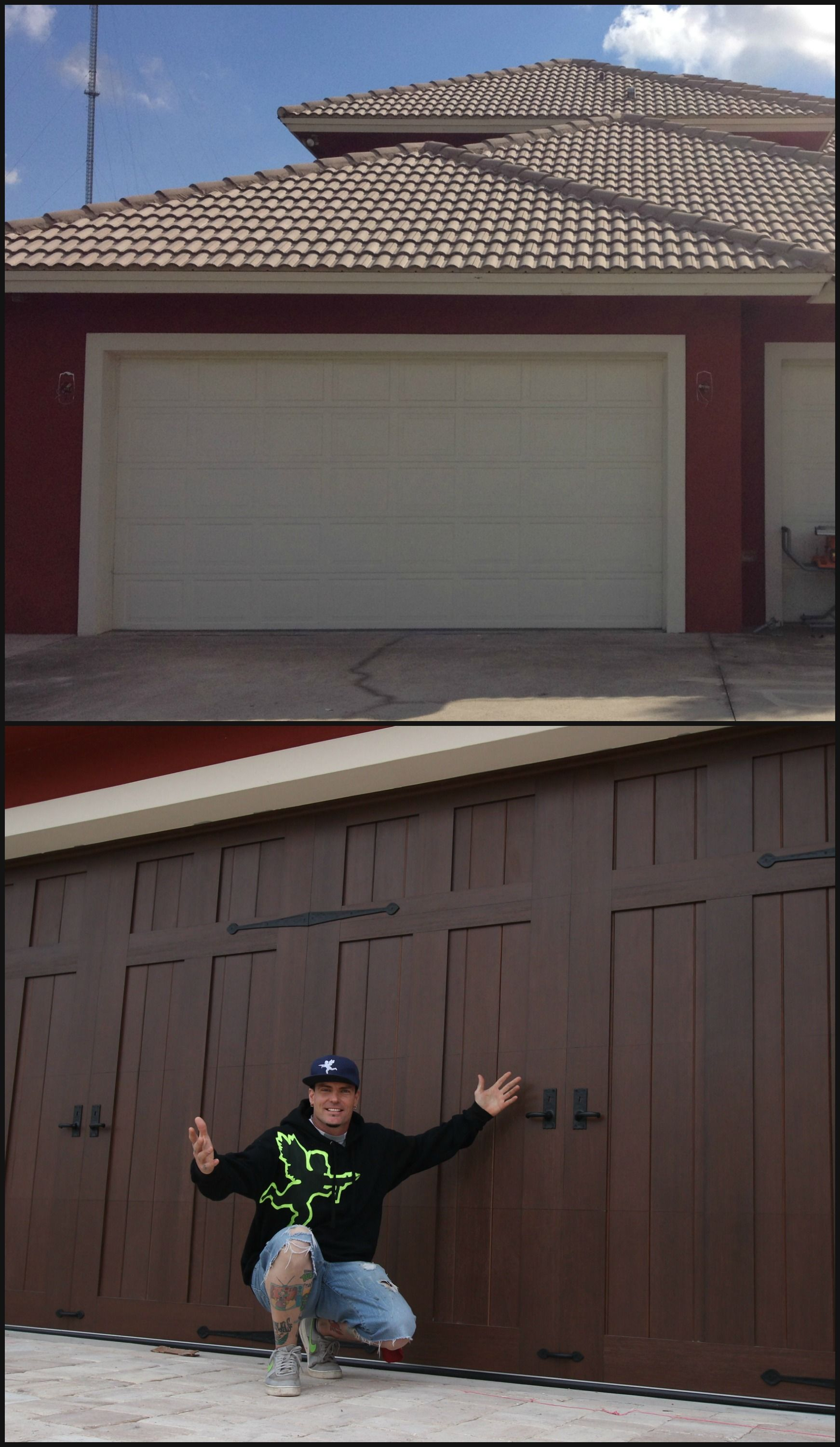 Garage door makeover Vanilla Ice chose Clopay Canyon