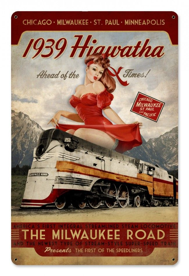 Retro Hiawatha 1939 Pinup Girl Train Sign 18 X 12 Inches