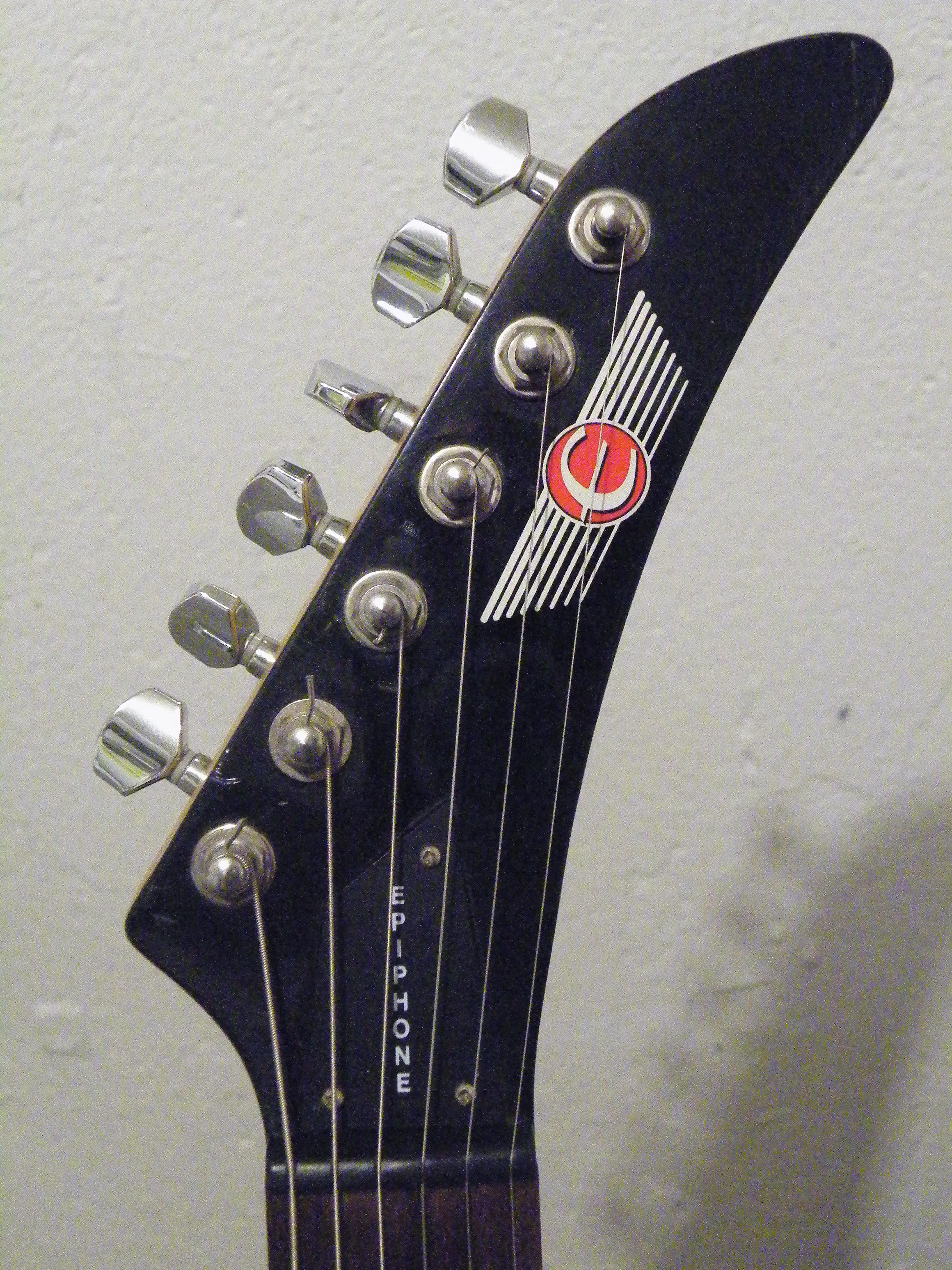 2001 Epiphone ESeries Demon V headstock My Guitar File