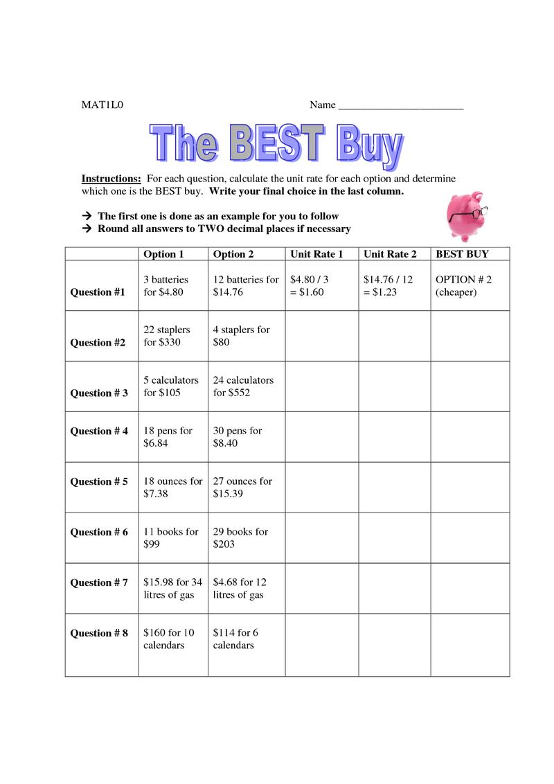 Page 1 Best Buy Worksheet.pdf Education Pinterest