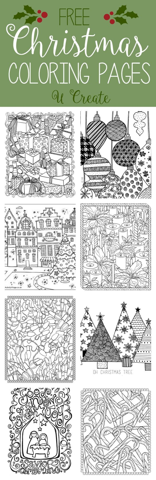 Free Christmas Adult Coloring Pages (U Create) Adult