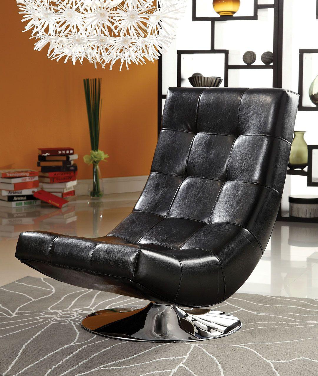 Trinidad contemporary style black leather like vinyl