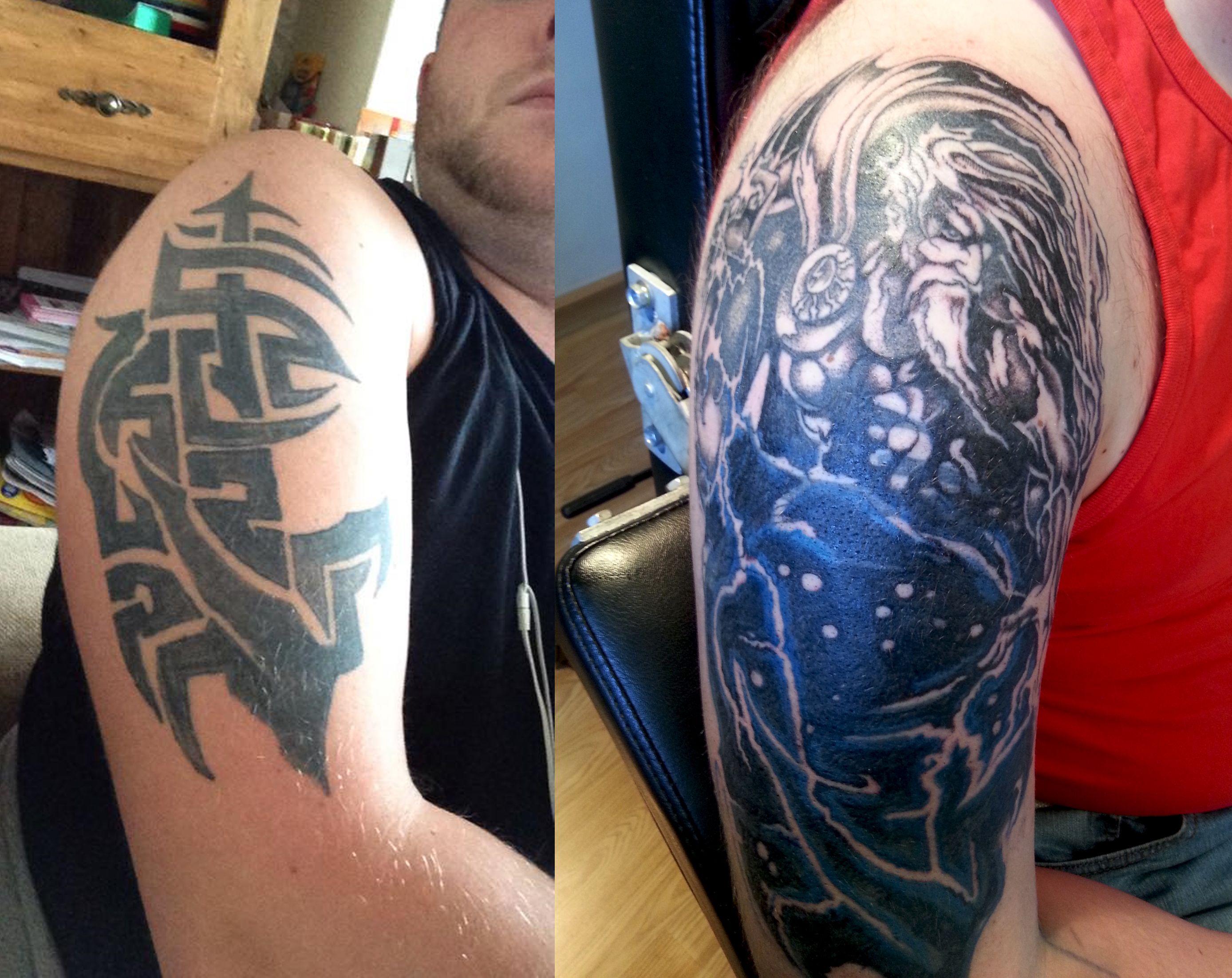 Tribal cover up tattoos killerink coverup blackandgrey