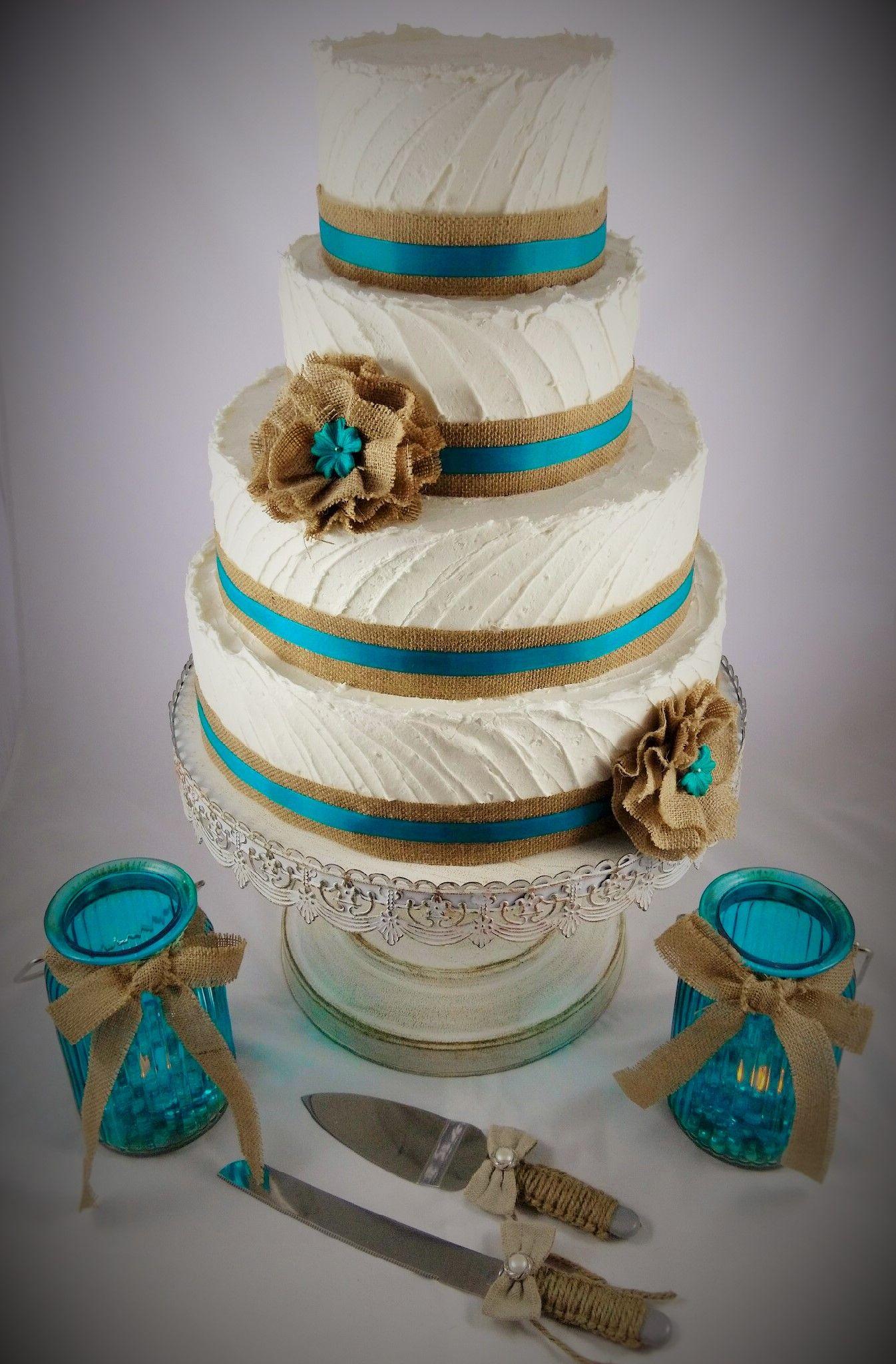 Rustic Wedding Cake Teal Burlap