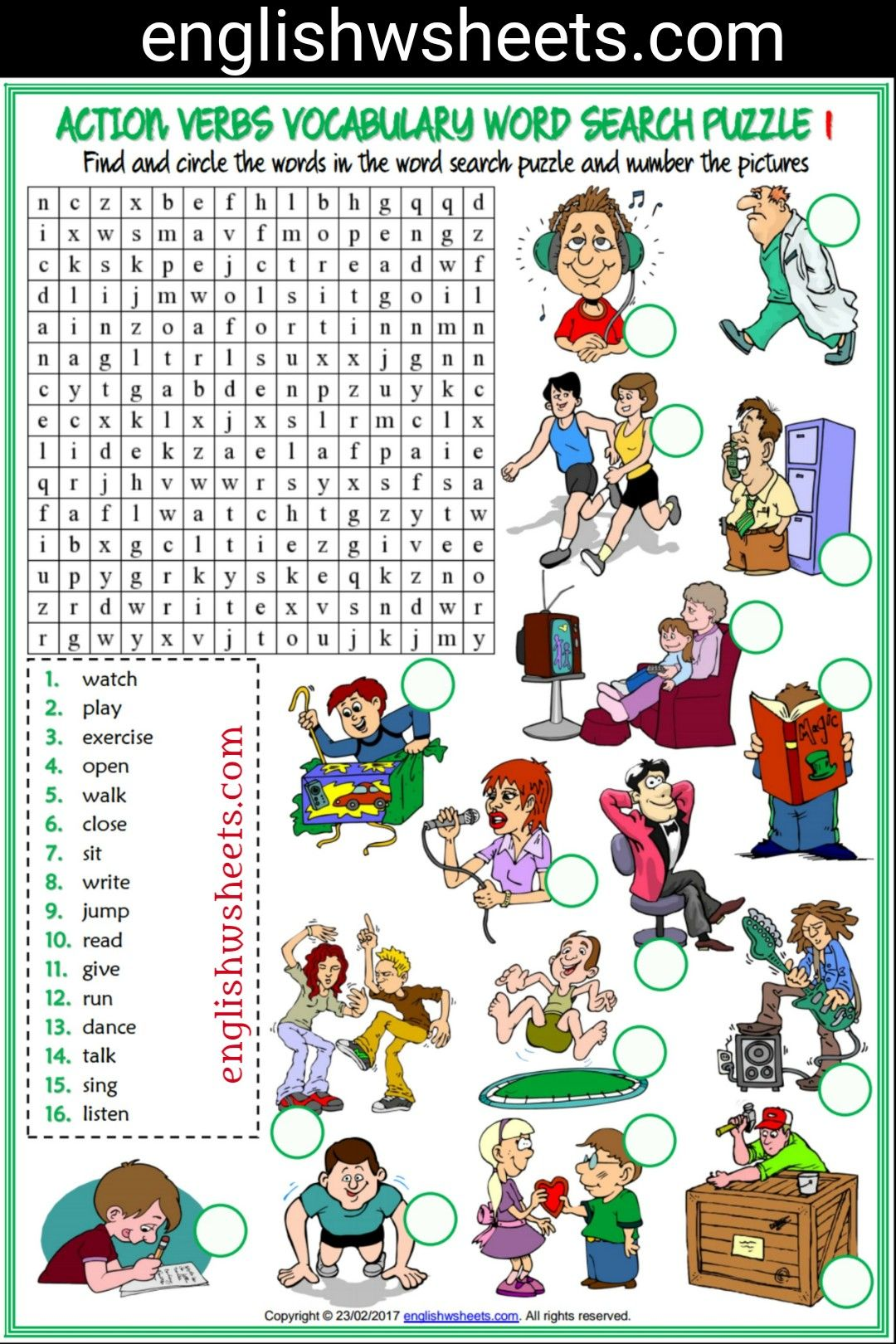 Action Verbs Esl Printable Word Search Puzzle Worksheets