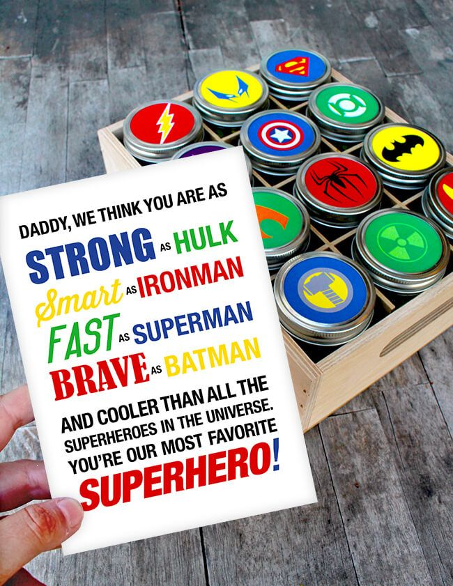 Easy Father's Day Superhero Gift with Free Printable
