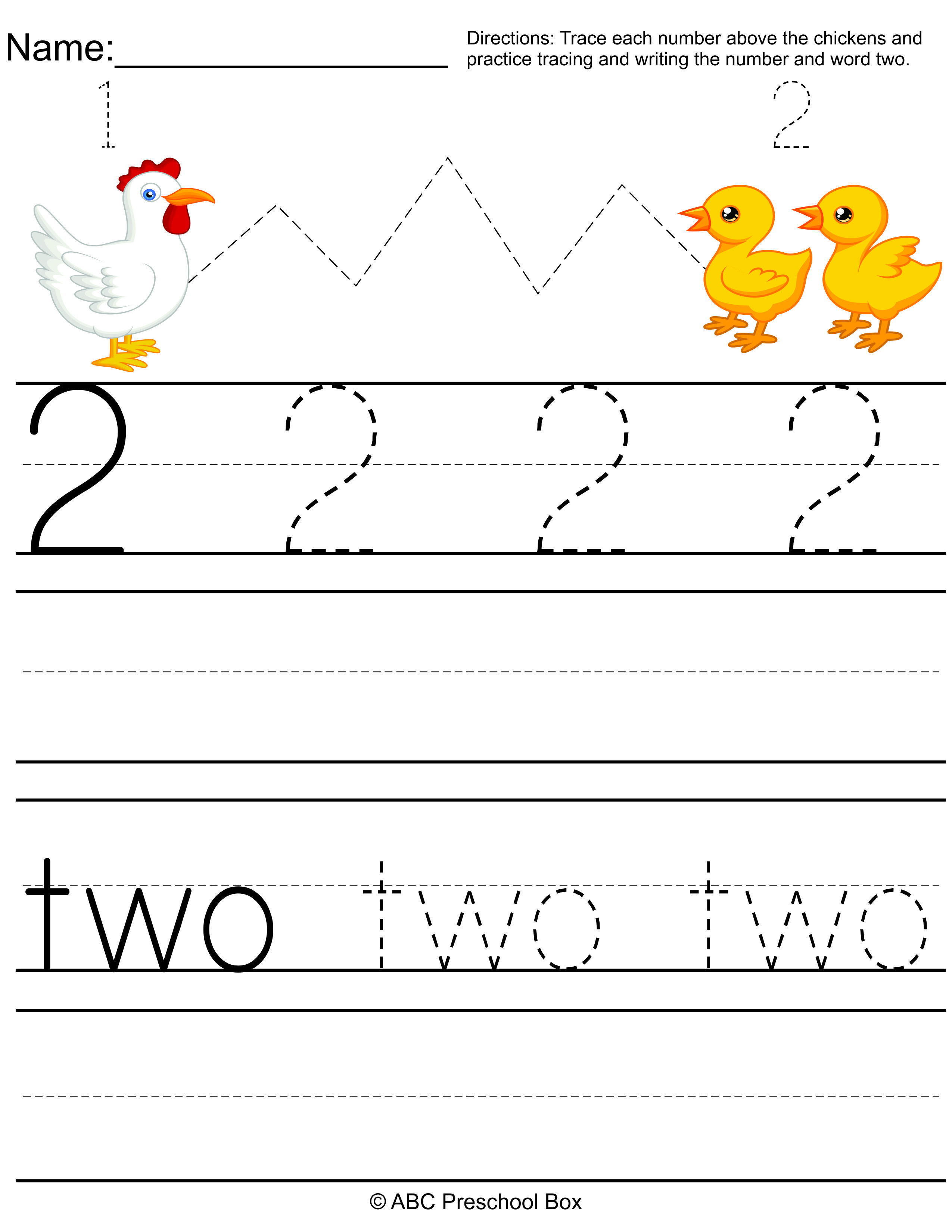 Number 2 Preschool Worksheet From Abcpreschoolbox