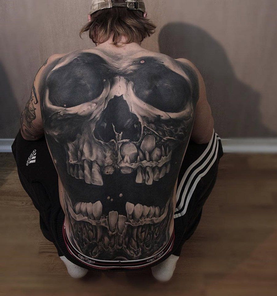Skull Back Tattoo Tatts