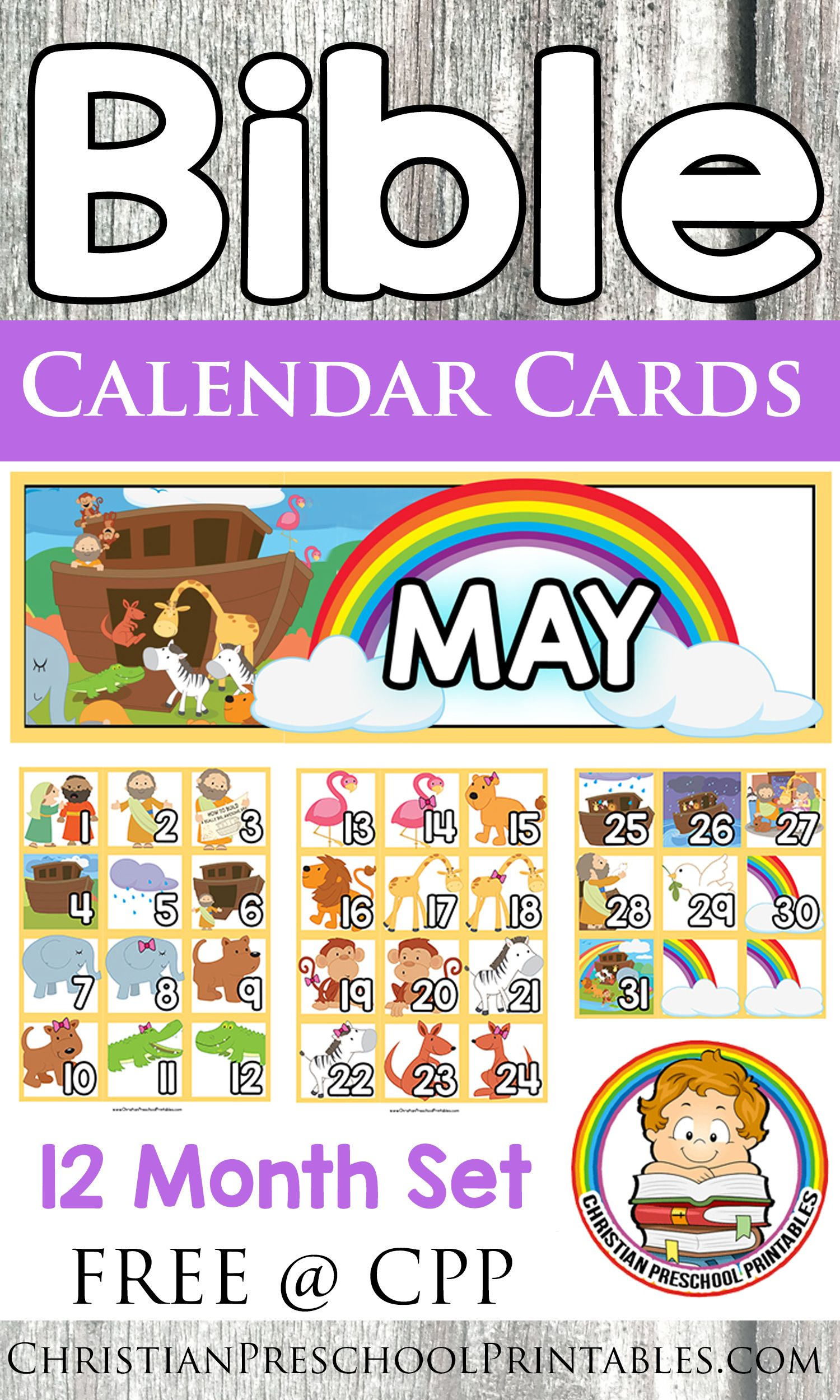 Free Bible Calendar Cards 12 Month Set Of Thematic Bible