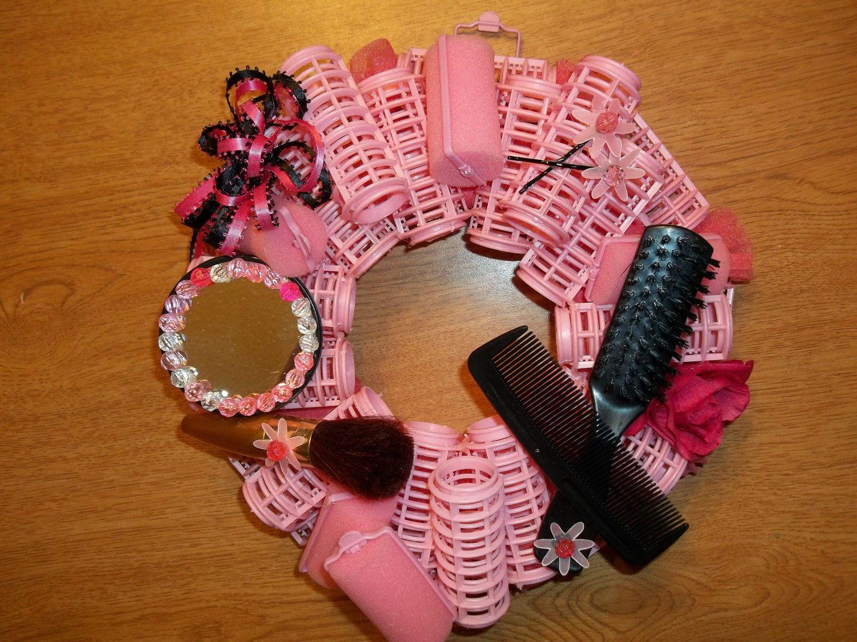 Wreath, Curlers, Pink Wreath, Pink, Black, Mirror, Beads