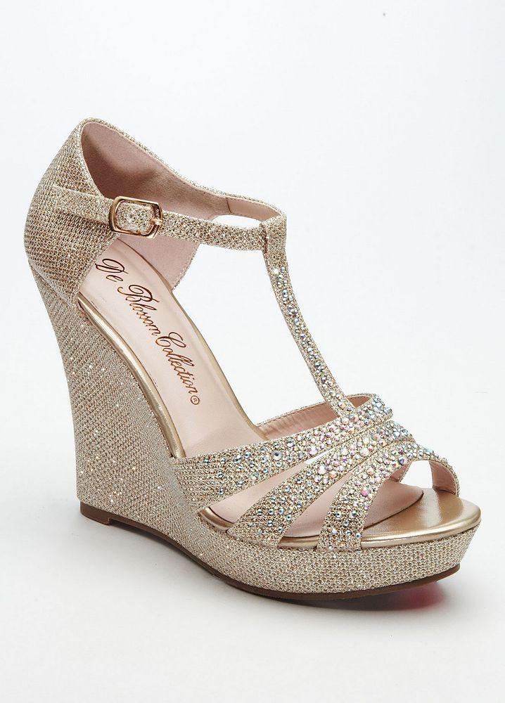 David's Bridal Wedding & Bridesmaid Shoes Glitter T Strap