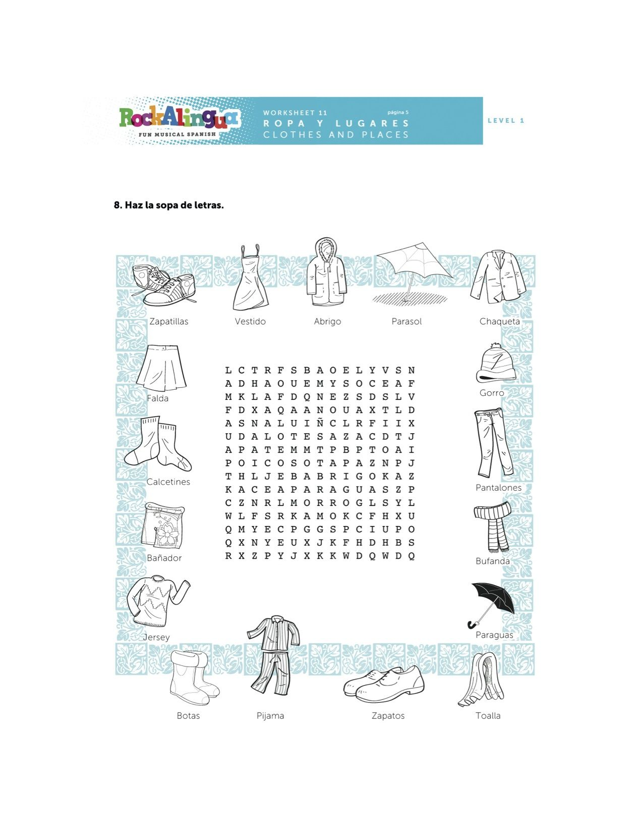 Spanish Worksheet About Clothes Places And Weather More Spanish Teaching Resources At