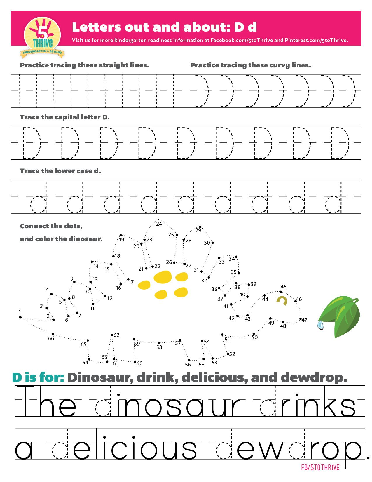 In Honor Of International Dinosaur Month This Printable Reveals A Fun Dino Friend D Is For