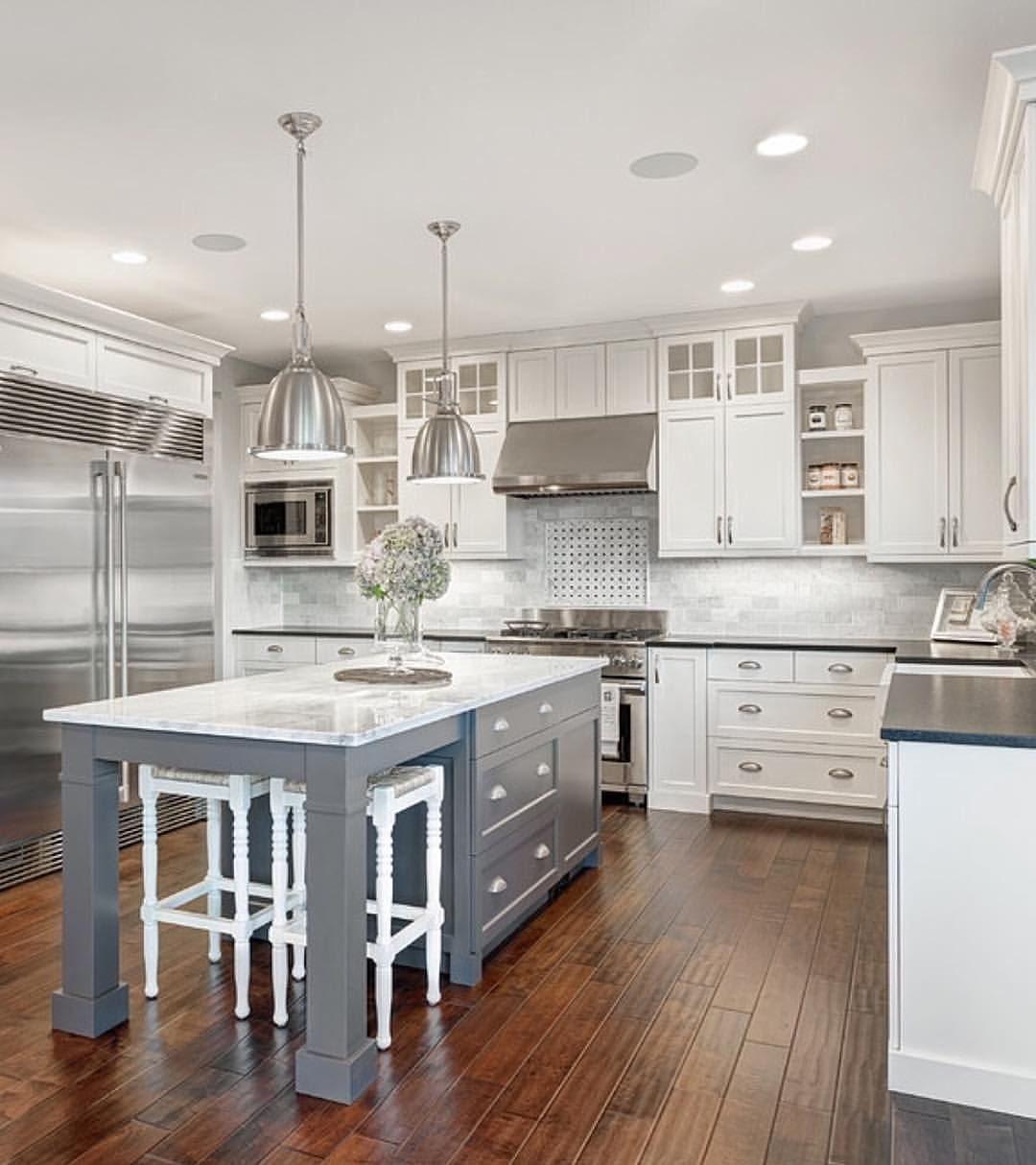 White & marble kitchen with grey island House & Home