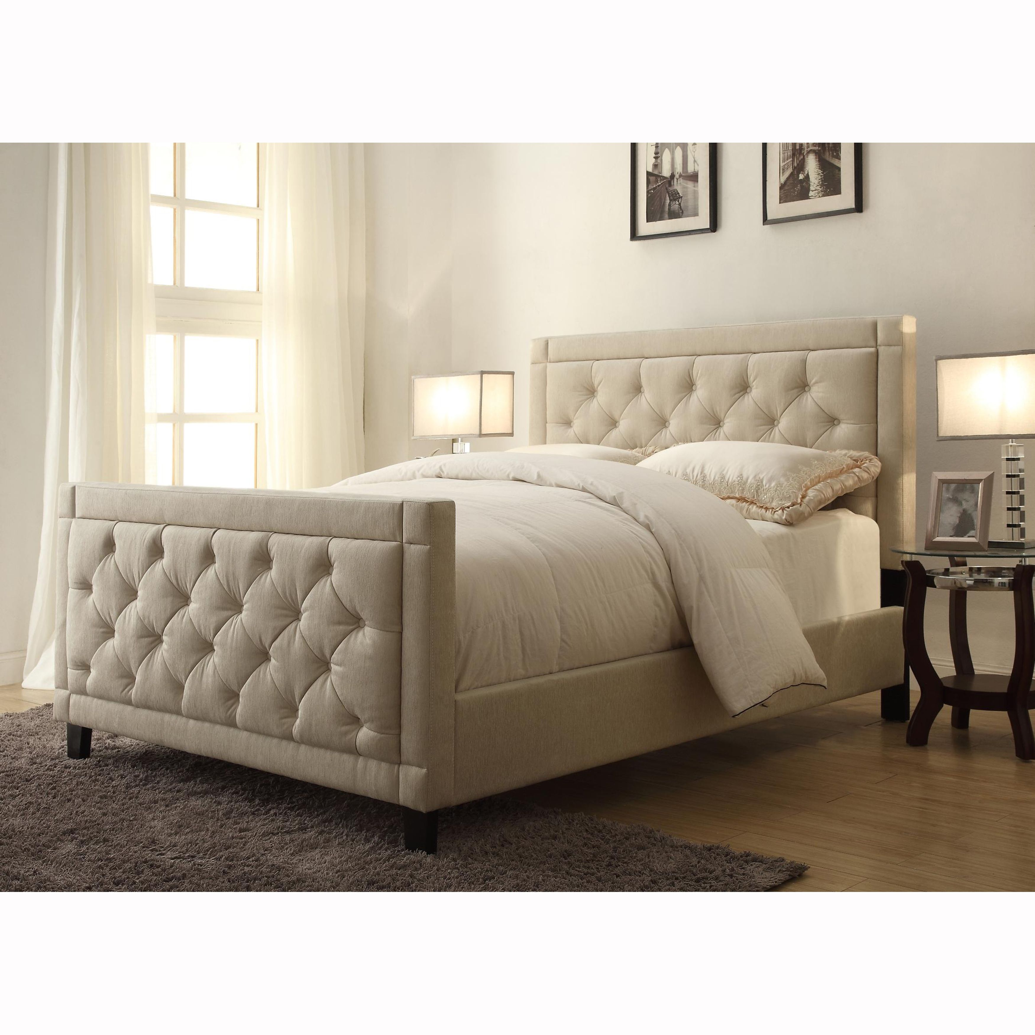 Natural Linen Queen Size Button Tufted Upholstered Bed Is