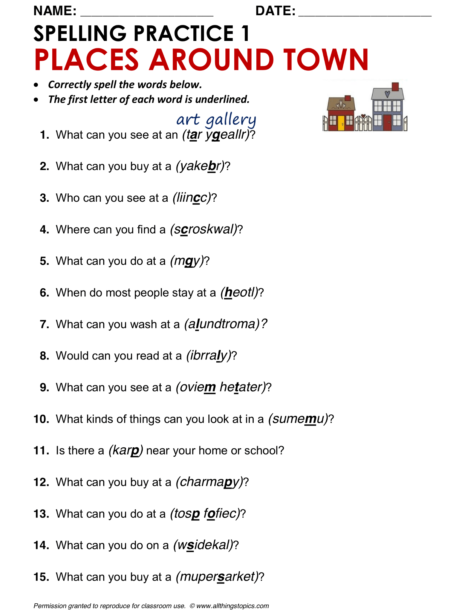 Spelling Worksheet Speaking And Vocab Practice Places Around Town English Learning English
