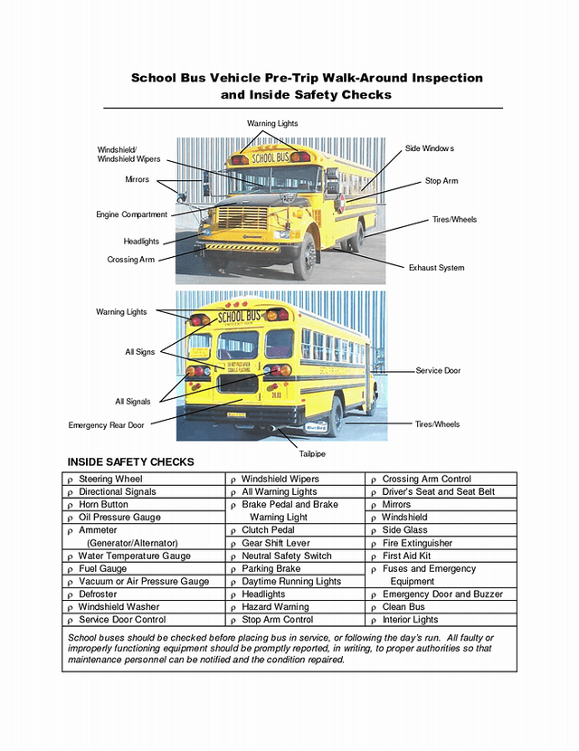 Image result for school bus PreTrip Inspection Checklist