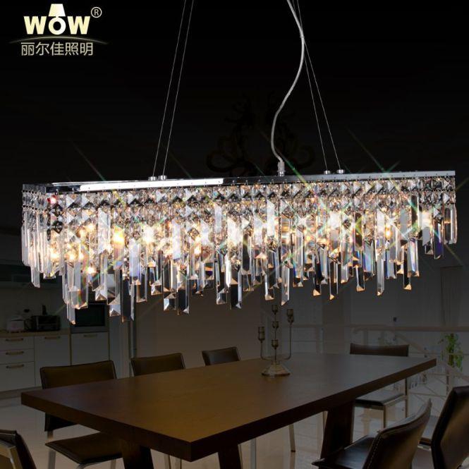 Crystal Rectangular Chandelier Modern Hanging Polished Chrome Lights Living Room Lighting
