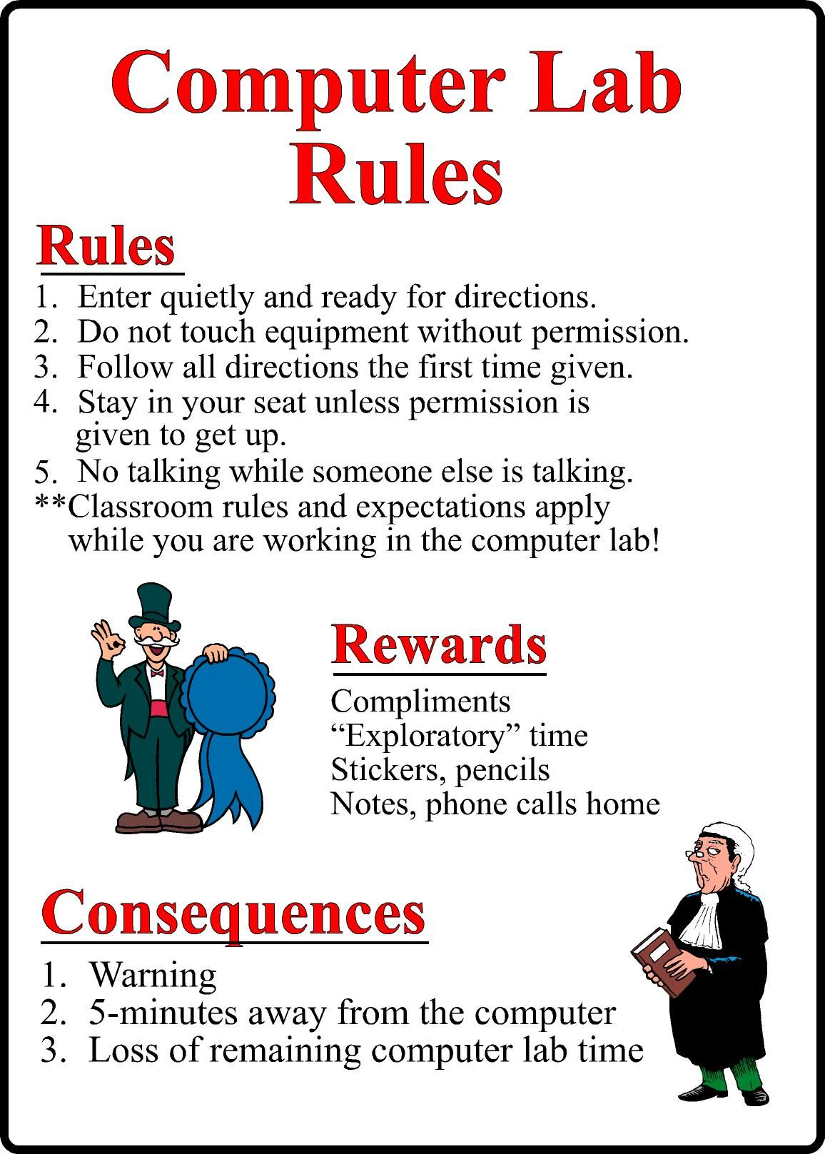computer lab rules for students pdf Google Search