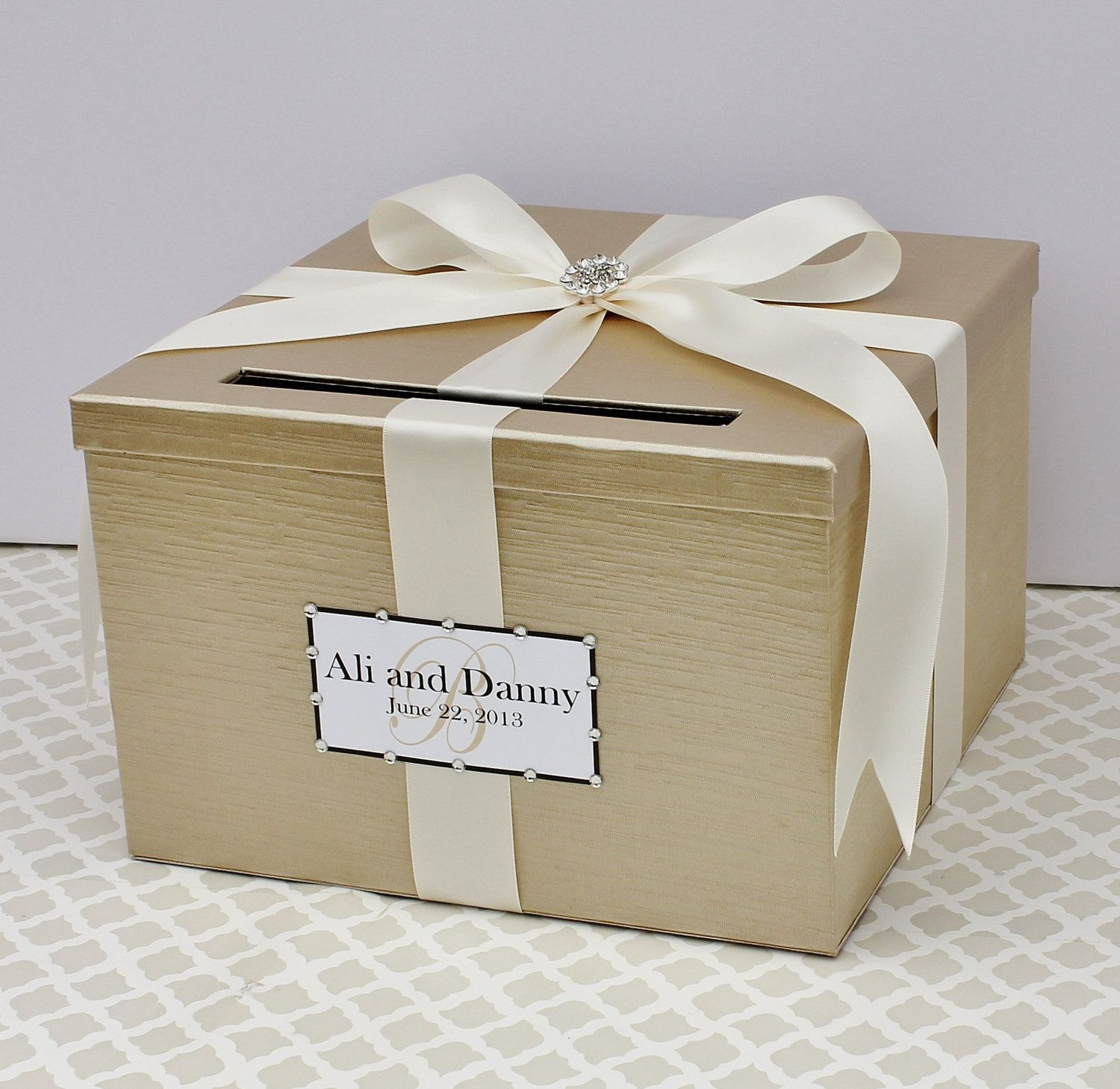 Wedding Card Box Champagne Gold Ivory Money Holder by