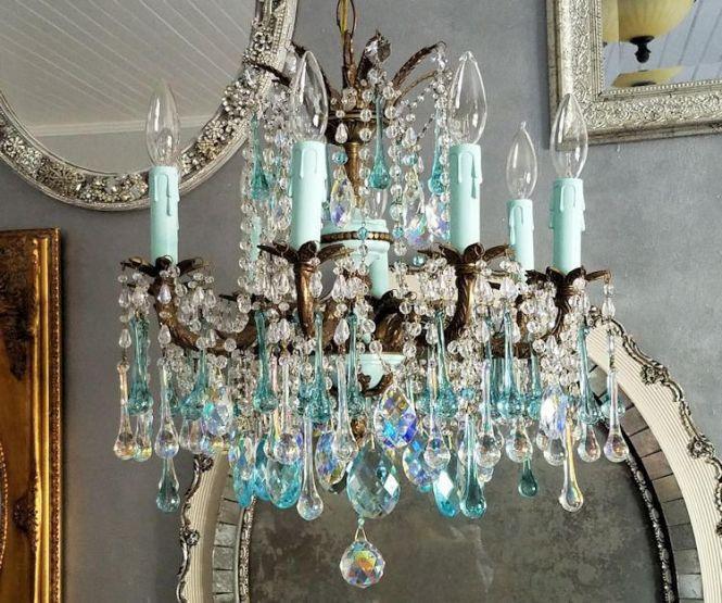 French Blue Antique Chandelier Aqua Crystal