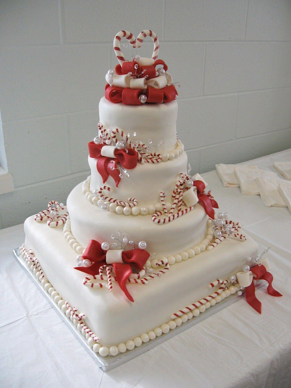 Christmas Candy Cane Wedding Cake Cakes2 Pinterest