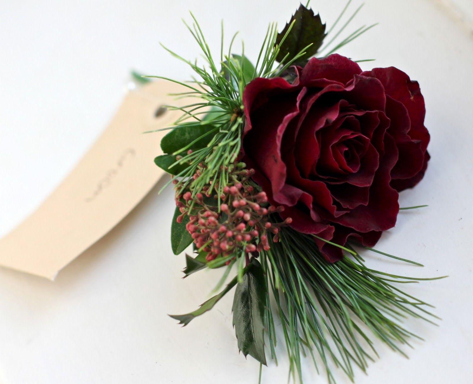 burgandy wedding snowflake theme Winter buttonhole of