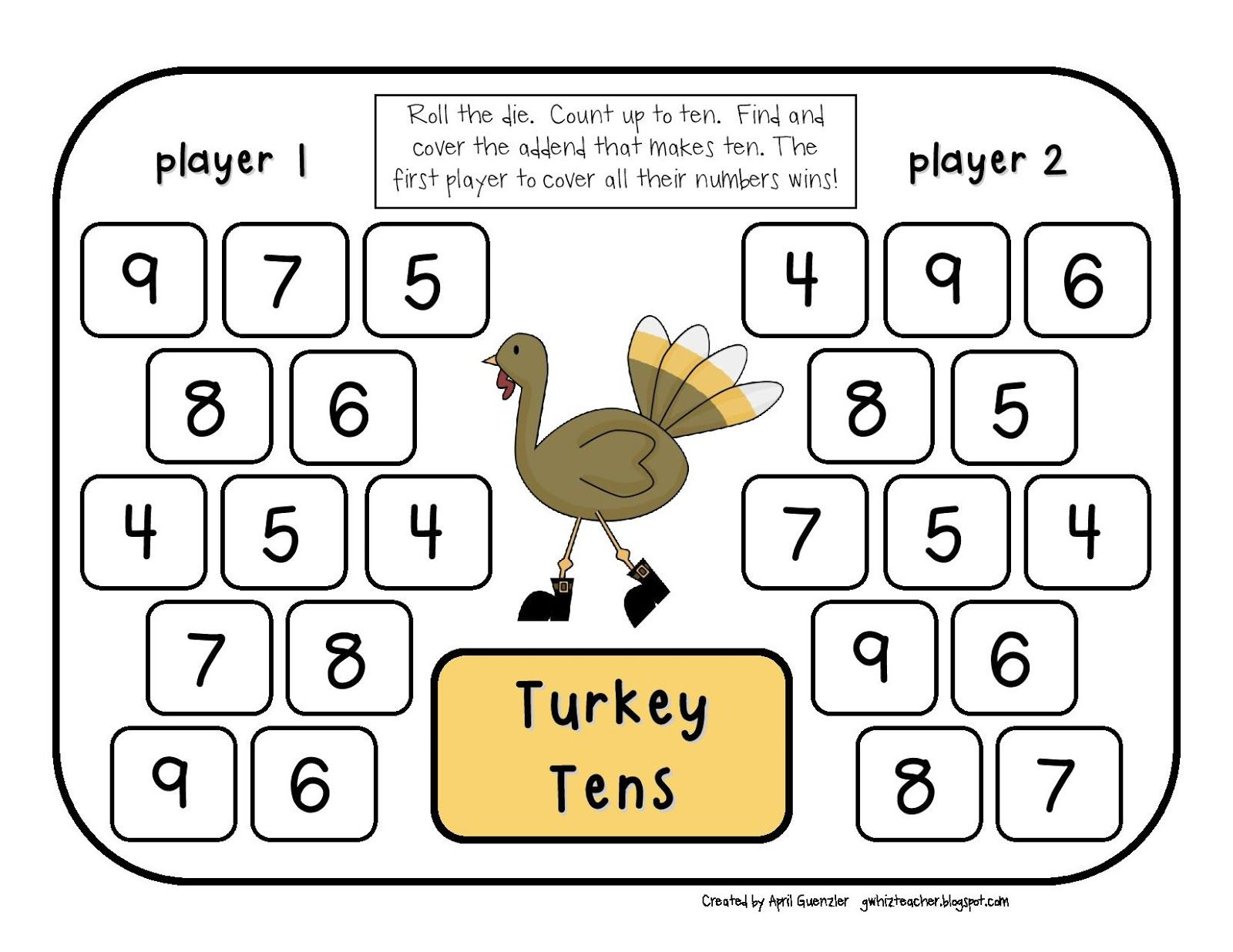 Gwhizteacher Thanksgiving Math Games Math Daily 5 Stations 1st Grade Math Games Turkey Tens