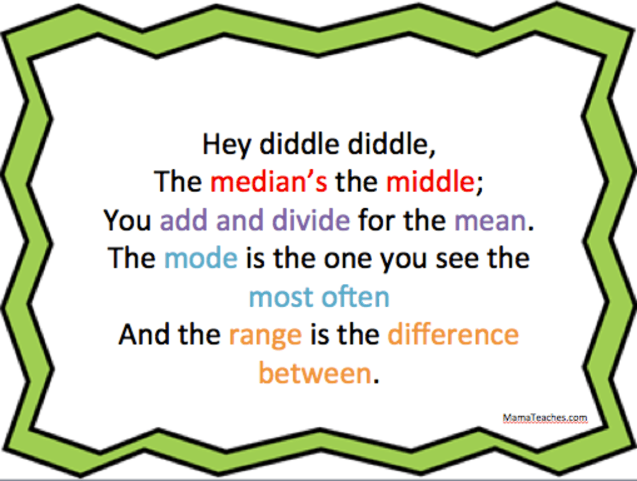 Free Math Printable For Mean Median Mode And Range